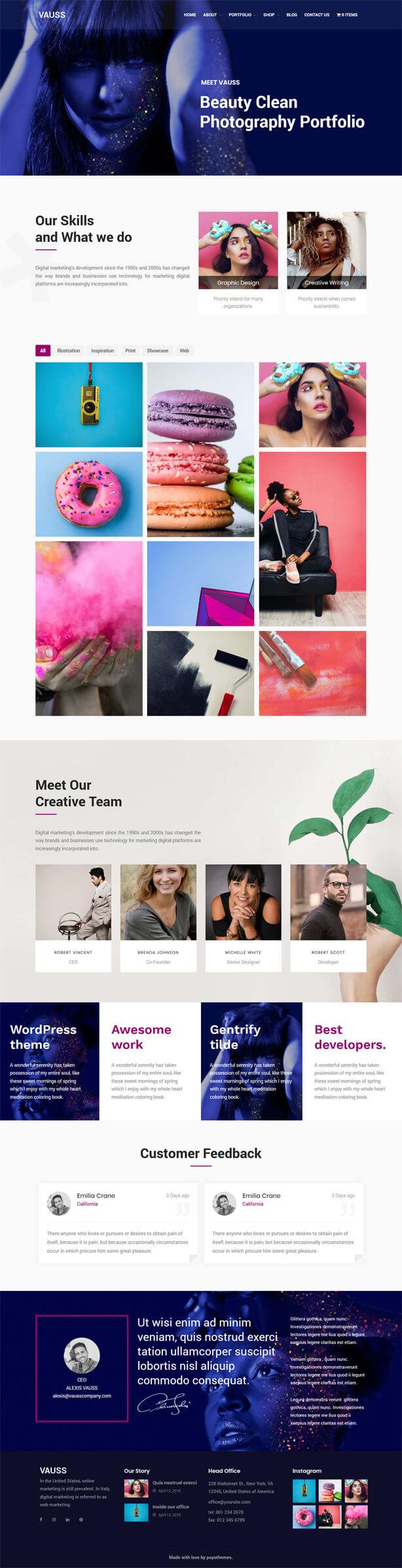VAUSS - Portfolio and Personal Services WordPress Theme - 1