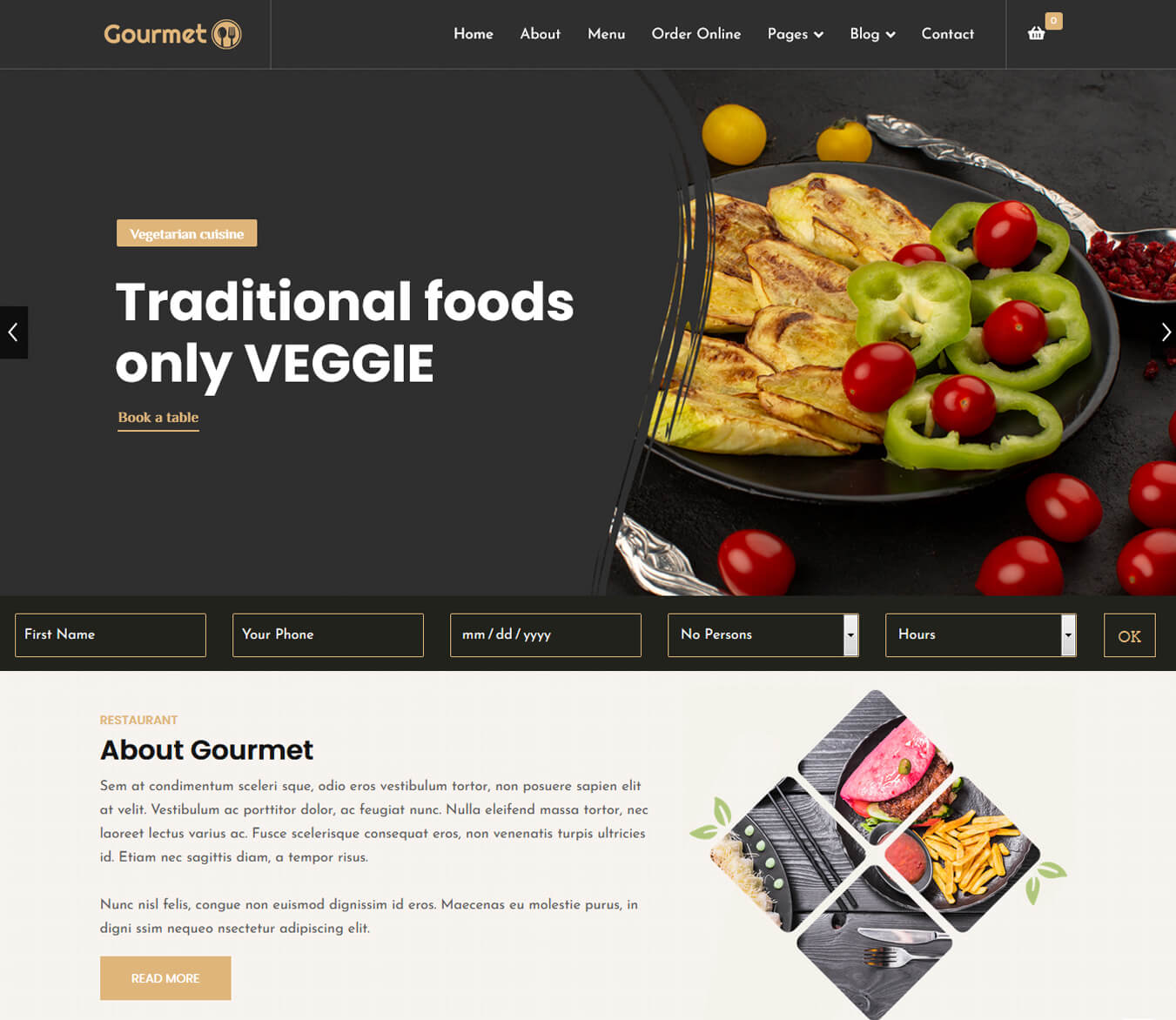 Gourmet - Restaurat Booking Reservation Joomla