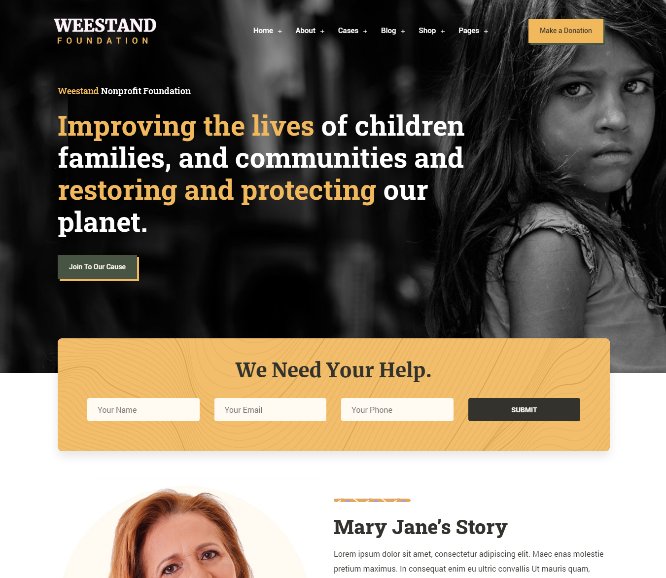 Weestand - Nonprofit, Charity, NGO Fundraising WordPress